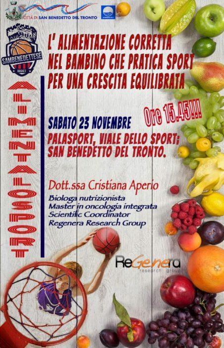 """""""L'alimentazione corretta nel bambino che pratica sport"""" – Incontro a San Benedetto del Tronto"""