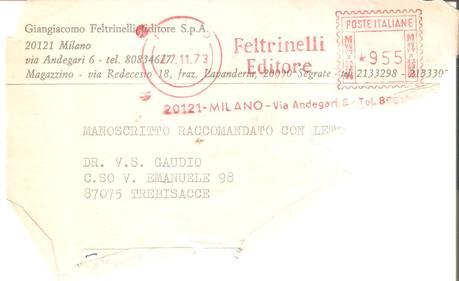 Giangiacomo Feltrinelli Editore a V.S. Gaudio □ Il Manoscritto Raccomandato con Lettera del 73