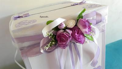 Scatola portabuste matrimonio nozze con fiori e rose lilla