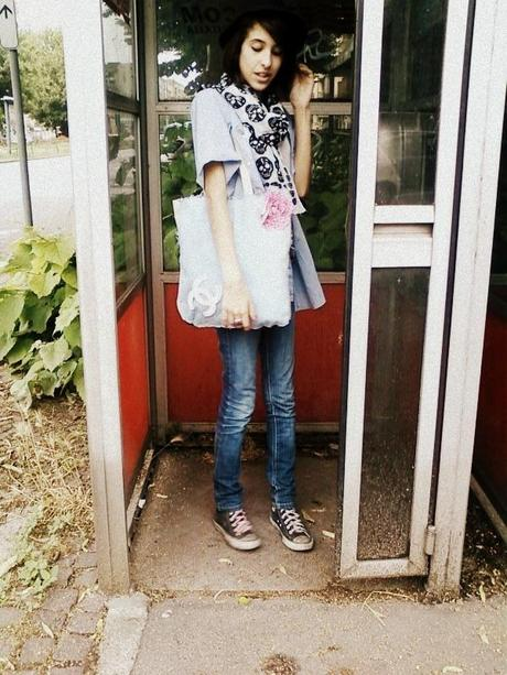 DIY Bag,Denim,flowers and Chanel.