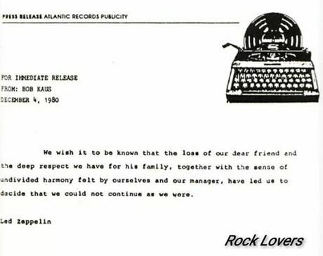 Led Zeppelin: accadde il 4 dicembre del 1980