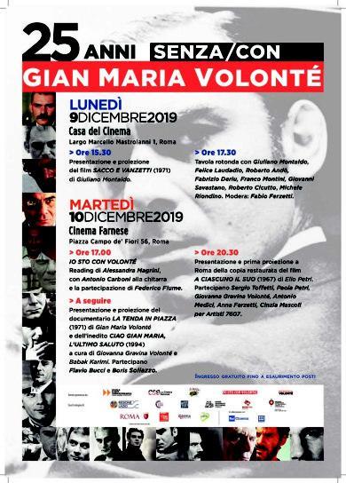 "Roma, ""25 anni senza/con Gian Maria Volonté"""