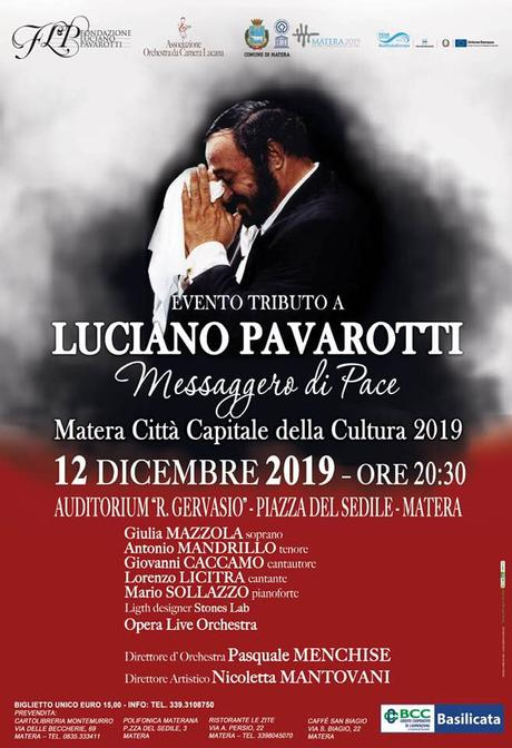 """""""Luciano Pavarotti Messaggero di Pace"""" 12 dicembre a Matera"""