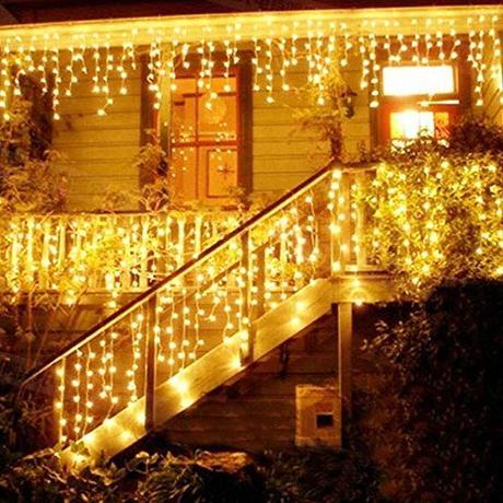 Catena Luminosa, Cascata led, Luci cascata, Strisce LED, 216 LED 5M Led Luci, Luci Stringa Bianco Caldo 8 Modalità Impermeabili IP44, per finestra, porta, patio, giardino, feste, Natale