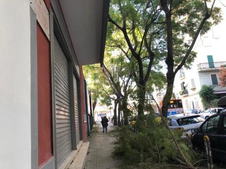 Vento forte a Napoli: cadono alberi e calcinacci. Posticipata alle 18.30 la partita
