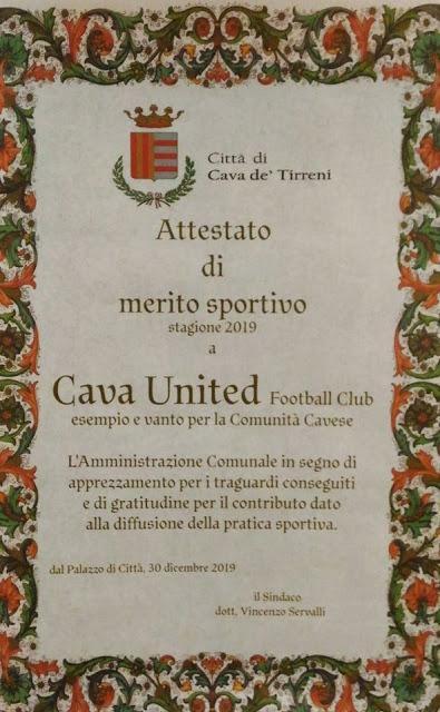 Cava United FC riceve l'Attestato di Merito Sportivo dall'Amministrazione Comunale