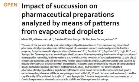 Impatto delle succussioni sui preparati  farmaceutici