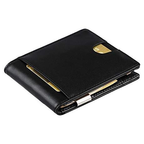 Portafoglio nero uomo vera pelle RFID con portamonete – piccolo portafoglio intelligente uomo slim per lui porta banconote, porta carte di credito, portafogli uomo sottile, regalo per uomini