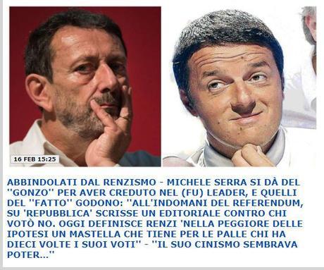 """Sul perché siamo costretti a gridare """"Forza Renzi!"""". E sui patemi del vecchio Michele Serra espressione plastica dell'intellettualità analogica e schierata prodotta in Italia negli ultimi 30 anni!"""