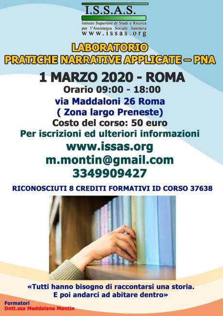 Laboratorio Pratiche Narrative Applicate PNA , con Maddalena  MONTIN – Roma 1 marzo 2020 – ISSAS