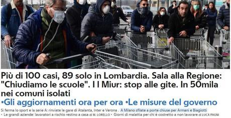 #Coronavirusitalia, più di 100 casi, 89 in Lombardia