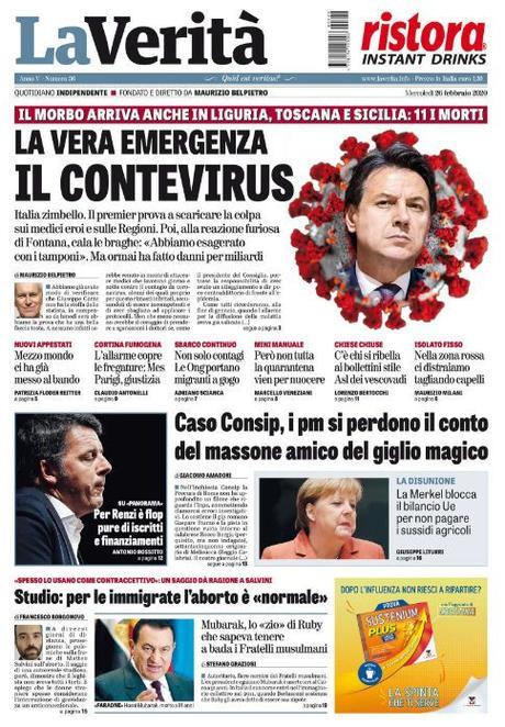 """Come i Trinità contro Mezcal. Spettacolare """"prima pagina"""" da collezione de """"La verità"""" inquadra l'incubo che attanaglia l'Italia…"""