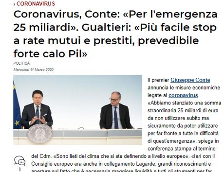 #Coronavirus, 25 miliardi per l'emergenza