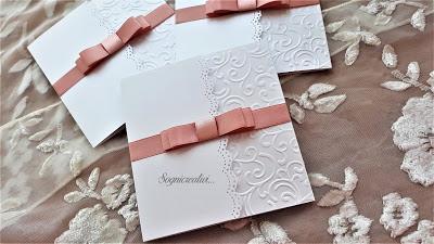 Partecipazioni matrimonio romantico con fiocco rosa antico