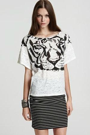Torn by Ronny Kobo Bianca Tiger-Print Cotton Tee