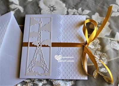 Partecipazioni matrimonio nozze tema Parigi con torre Eiffel con bracciale coordinato