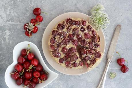 Torta di ciliegie senza burro, glutine e zucchero  (ricetta vegan)
