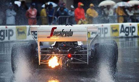 Una pezza rossa tra Senna e Prost nel GP di Monaco 1984