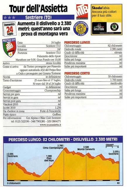 GF del 24/7/2011: Tour dell'Assietta (TO), Cortina-Dobbiaco (BL), Frassignoni Sport (PT), La Via dei Francesi (CZ),  Lessinia Bike (TN). Le schede