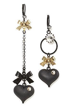 Betsey Johnson Mismatched Heart Earrings