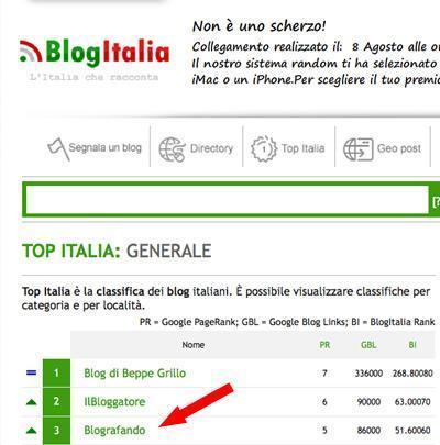 Blografando al 3° posto su BlogItalia
