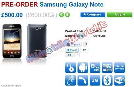 Preordine Samsung Galaxy Note : Compra / acquista in Pre-order modello Sim Free