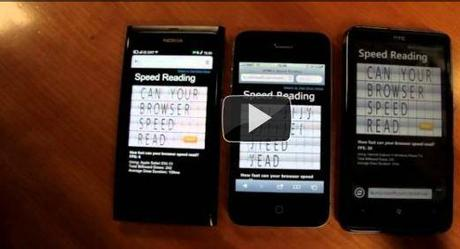 Video Speed ​​Test HTML5: Nokia N9 vs iPhone4 vs HTC HD7
