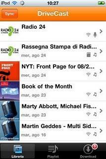 Podcast e programmi radio preferiti con l'app DriveCast.