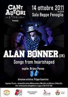 Concerto di Alan Bonner in Sala Fenoglio (Alba) il 14 ottobre