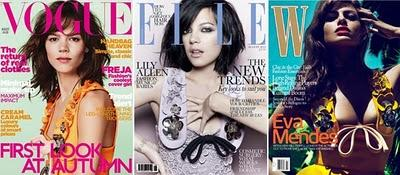 Lo stesso abito sulla copertina di Vogue Inghilterra, Elle UK e W / Same dress on covers of British Vogue, Elle UK and W