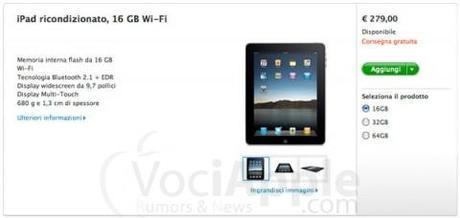 Apple Store: iPad ricondizionato a 279€