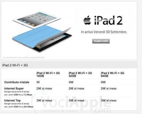iPad 2 con Vodafone: dettagli delle offerte in abbonamento e ricaricabili