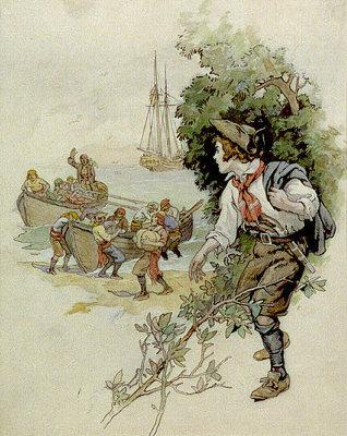 Jim Hawkins beobachtet die Landung der Piraten