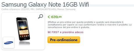 Miglior prezzo del Samsung Galaxy Note a € 639,99 su Expansys.it