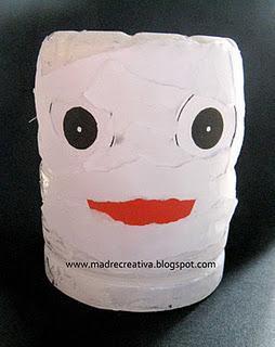 Halloween: gufi e mummie con le bottiglie di plastica