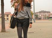 Leather shorts&Romwe; bag&Silver; sweater