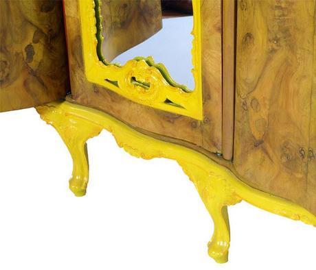 Armadio barocco dipinto decorato radica giallo design ...