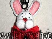 Collana bian coniglio necklace white rabbit wonderland ooak