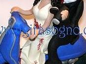Cake topper matrimonio sposi vespa ooak