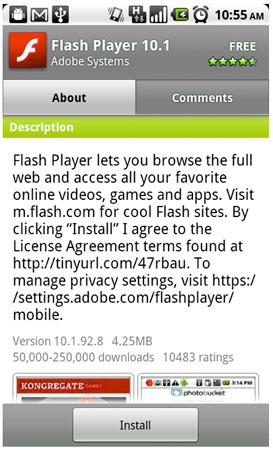 Flash Player 10.1 download apk