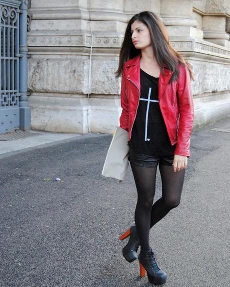 Yesterday's outfit: Red biker jacket, cross tee and Litas