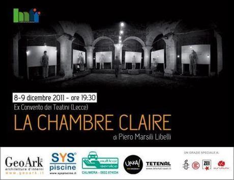 La chambre claire 8 9 dicembre a lecce presso ex for Chambre claire roland barthes
