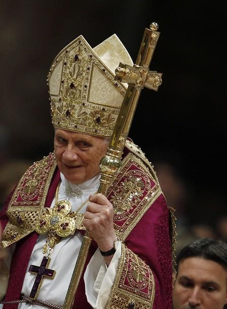 Pope Benedict XVI arrives to lead a Vesper prayer in St. Peter's Basilica at the Vatican December 15, 2011.