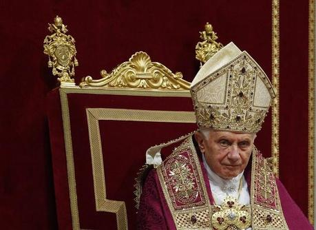 Pope Benedict XVI looks on as he leads a Vesper prayer in St. Peter's Basilica at the Vatican December 15, 2011.