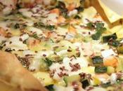 Lasagna gamberi, zucchine, mozzarella bufala pesto granella semi lino