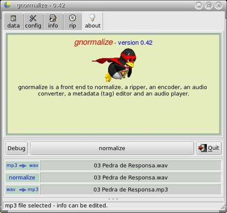 Gnormalize convertitore audio, encoder, ripper, con editor per i metadati (tag), redattore e lettore di audio cd incorporato.