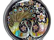Specchio borsetta intarsi madreperla raffiguranti pavoni come simbolo matrimonio