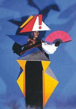 Grace Jones in a maternity dress designed by Jean-Paul Goude and Antonio Lopez