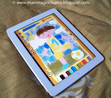 Bambini E Ipad Lapp Di Sabbiarelli Per Colorare Con La Sabbia