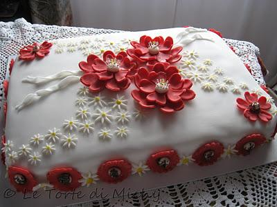 Torta Compleanno Red Flowers Paperblog